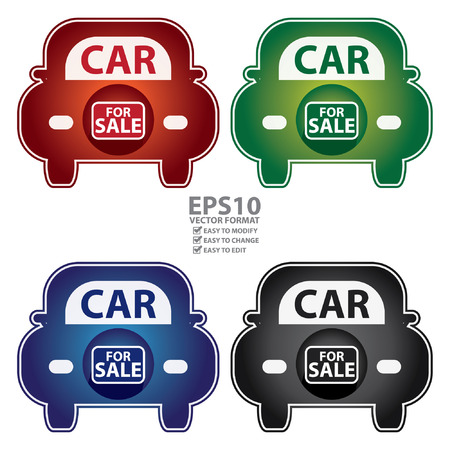 Vector : Colorful Shiny Style Car For Sale Icon Sticker or Label Isolated on White Background Illustration