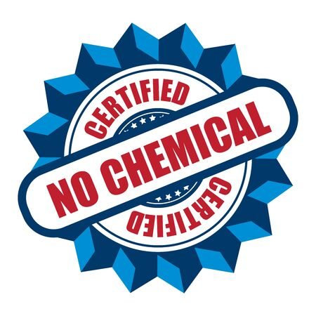 product signal: Blue No Chemical Certified Icon Sticker Label or Badge Isolated on White Background Stock Photo