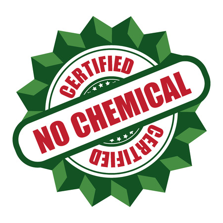 non toxic: Green No Chemical Certified Icon Sticker Label or Badge Isolated on White Background