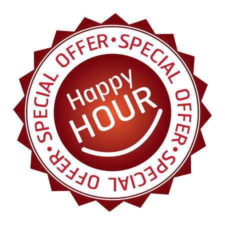 offer icon: Red Happy Hour Special Offer Icon Label Badge or Sticker Isolated on White Background Stock Photo