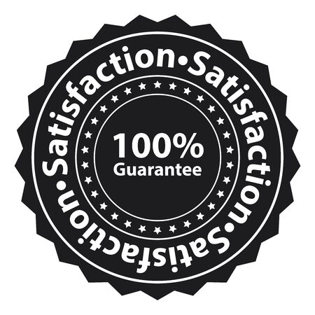 Black Satisfaction 100 Guarantee Label Sticker Banner Sign or Icon Isolated on White Background