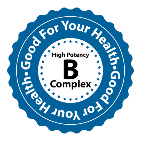 complex: Blue High Potency B Complex Good For Your Health Icon Sticker or Label Isolated on White Background Stock Photo