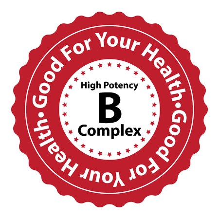 biotin: Red High Potency B Complex Good For Your Health Icon Sticker or Label Isolated on White Background
