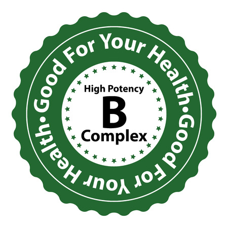 potency: Green High Potency B Complex Good For Your Health Icon Sticker or Label Isolated on White Background Stock Photo