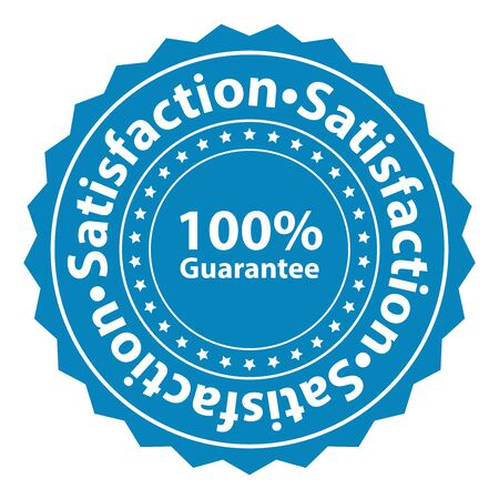 Blue Satisfaction 100 Guarantee Label Sticker Banner Sign or Icon Isolated on White Background