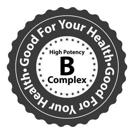 biotin: Black High Potency B Complex Good For Your Health Icon Sticker or Label Isolated on White Background