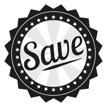 grand sale sticker: Black Save Icon Label Sticker Sign or Banner Isolated on White Background