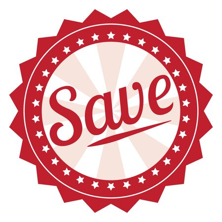 grand sale sticker: Red Save Icon Label Sticker Sign or Banner Isolated on White Background