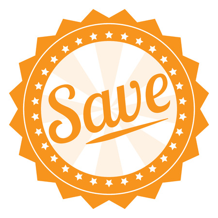 grand sale sticker: Orange Save Icon Label Sticker Sign or Banner Isolated on White Background