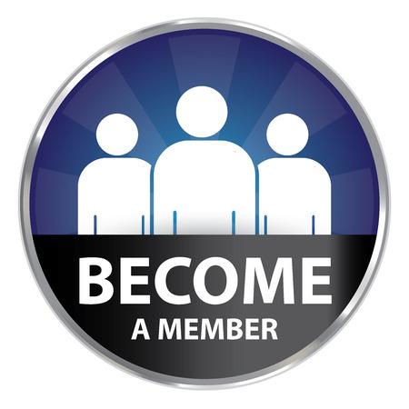 Bleu et Or Cercle style métallique devenu une icône membres étiquette ou label isolé sur fond blanc Banque d'images - 41571102