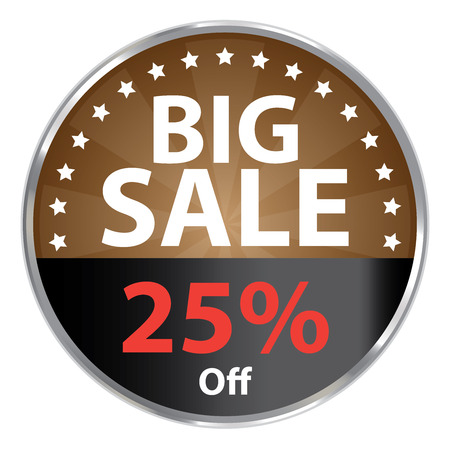 grand sale sticker: Brown Metallic Big Sale 25 Off Icon Label Sticker Sign or Banner Isolated on White Background Stock Photo