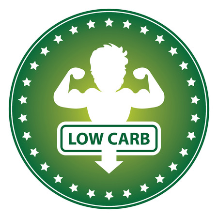 carb: Green Circle Low Carb Sticker Label or Icon Isolated on White Background Stock Photo