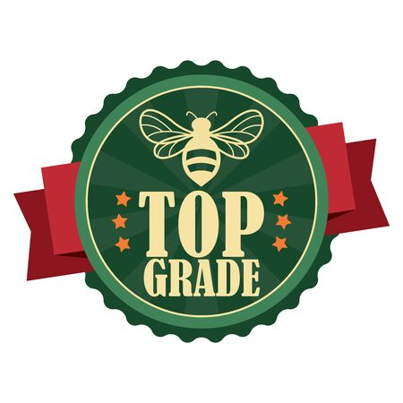 shop keeper: Green Vintage Top Grade Honey Icon Badge Sticker or Label Isolated on White Background Stock Photo
