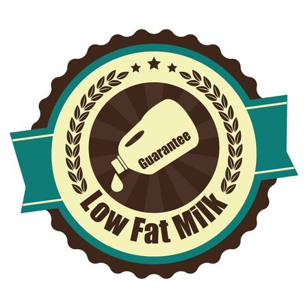 low cal: Blue Vintage Low Fat Milk Icon Badge Sticker or Label Isolated on White Background Stock Photo