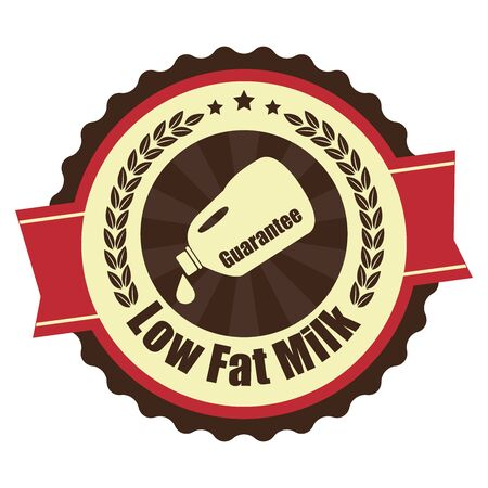 low cal: Red Vintage Low Fat Milk Icon Badge Sticker or Label Isolated on White Background