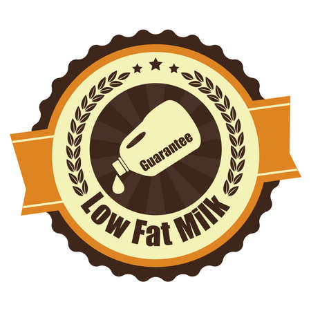 low cal: Orange Vintage Low Fat Milk Icon Badge Sticker or Label Isolated on White Background