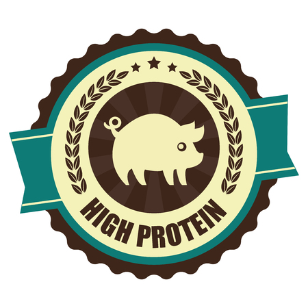 Blue Vintage High Protein Icon Badge Sticker or Label Isolated on White Background photo