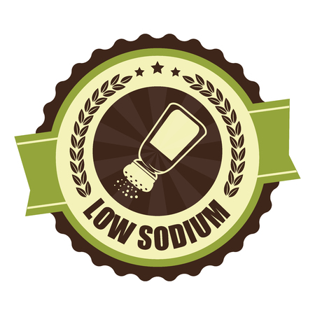 reduced: Green Vintage Low Sodium Icon Badge Sticker or Label Isolated on White Background