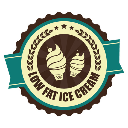 low cal: Blue Vintage Low Fat Ice Cream Icon Badge Sticker or Label Isolated on White Background