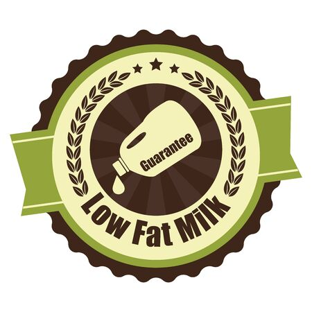 low cal: Green Vintage Low Fat Milk Icon Badge Sticker or Label Isolated on White Background