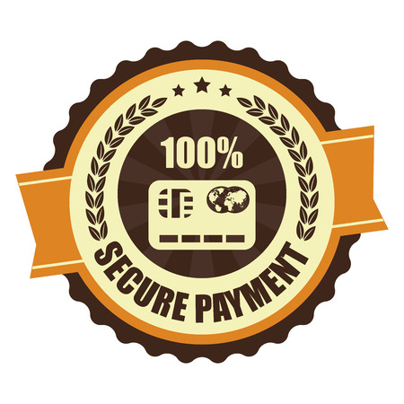 secure payment: Orange Vintage Secure Payment Icon Badge Sticker or Label Isolated on White Background