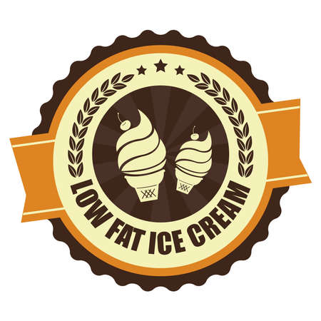 low cal: Orange Vintage Low Fat Ice Cream Icon Badge Sticker or Label Isolated on White Background