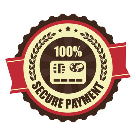 secure payment: Red Vintage Secure Payment Icon Badge Sticker or Label Isolated on White Background