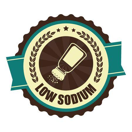 saline: Blue Vintage Low Sodium Icon Badge Sticker or Label Isolated on White Background Stock Photo