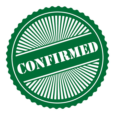 confirmed: Green Retro Style Confirmed Icon Stamp or Label Isolated on White Background