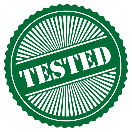 tried: Green Retro Style Tested Icon Stamp or Label Isolated on White Background Stock Photo