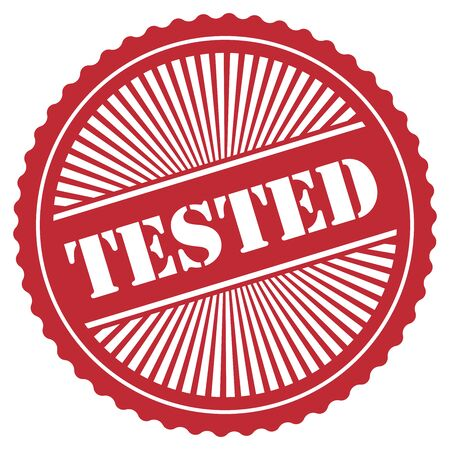tried: Red Retro Style Tested Icon Stamp or Label Isolated on White Background
