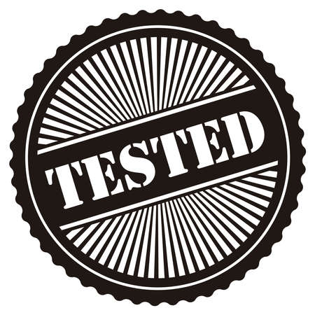 acception: Black Retro Style Tested Icon Stamp or Label Isolated on White Background