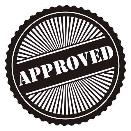 approved icon: Black Retro Style Approved Icon Stamp or Label Isolated on White Background Stock Photo
