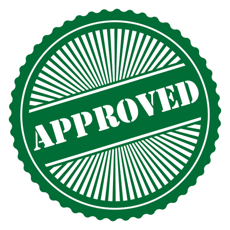 qc: Green Retro Style Approved Icon Stamp or Label Isolated on White Background
