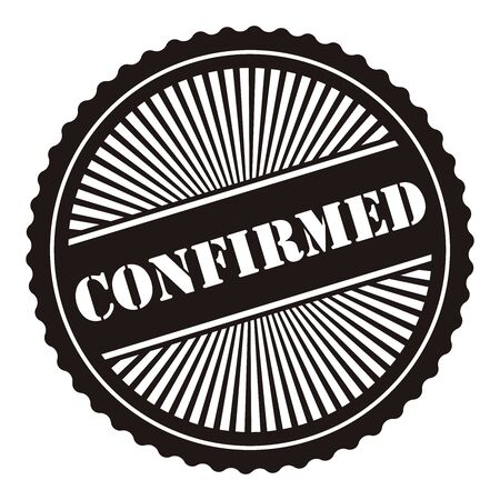 confirmed: Black Retro Style Confirmed Icon Stamp or Label Isolated on White Background