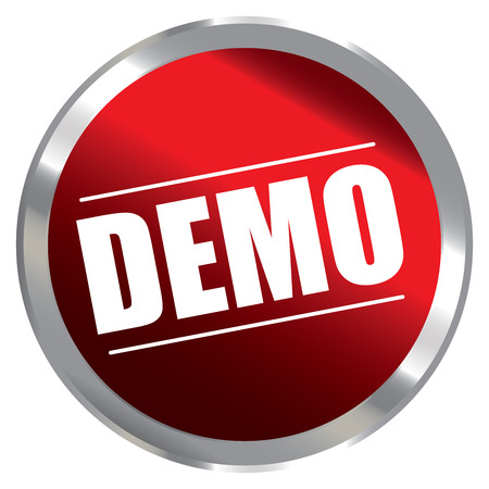 plugin: Red Circle Metallic Style Demo Label Sign Sticker or Icon Isolated on White Background Stock Photo