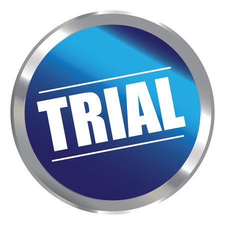 plugin: Blue Circle Metallic Style Trial Label Sign Sticker or Icon Isolated on White Background