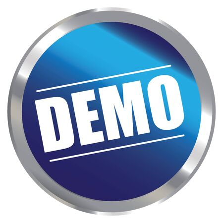 plugin: Blue Circle Metallic Style Demo Label Sign Sticker or Icon Isolated on White Background