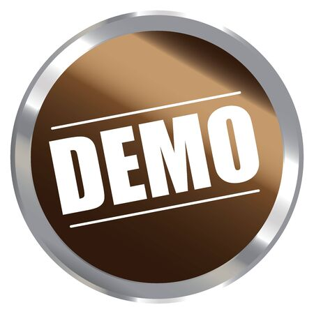 proved: Brown Metallic Cerchio Style Demo Etichetta Segno Sticker o icona isolato su sfondo bianco Archivio Fotografico