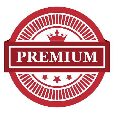qc: Red Premium Label Sticker Banner Sign or Icon Isolated on White Background