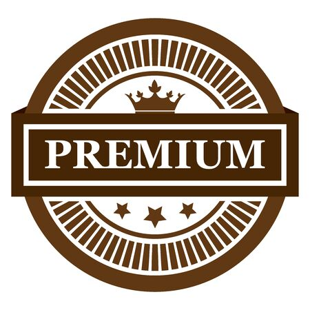 qc: Brown Premium Label Sticker Banner Sign or Icon Isolated on White Background