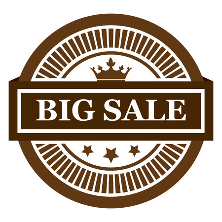 grand sale sticker: Brown Circle Big Sale Long Shadow Style Icon Label Sticker Sign or Banner Isolated on White Background