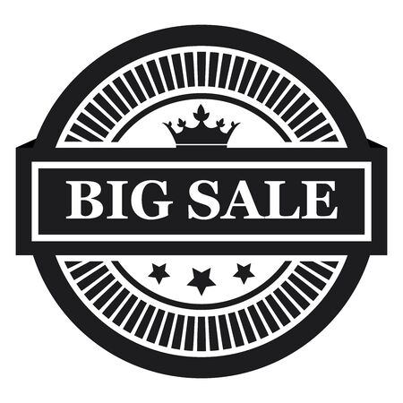 grand sale sticker: Black Circle Big Sale Long Shadow Style Icon Label Sticker Sign or Banner Isolated on White Background