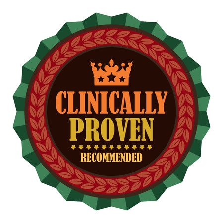 proven: Red Vintage Clinically Proven Recommended Icon Badge Sticker or Label Isolated on White Background