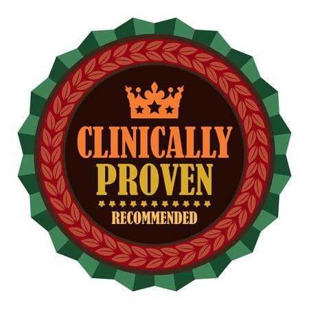 clinically: Red Vintage clinicamente dimostrato Consigliato Icona Badge Sticker o etichetta isolato su sfondo bianco Archivio Fotografico