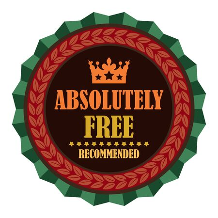 absolutely: Green Vintage Absolutely Free Recommended Icon Badge Sticker or Label Isolated on White Background