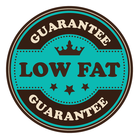 low cal: Blue Vintage Low Fat Icon Badge Sticker or Label Isolated on White Background Stock Photo