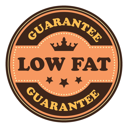 low cal: Orange Vintage Low Fat Icon Badge Sticker or Label Isolated on White Background
