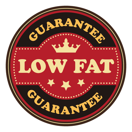 low cal: Red Vintage Low Fat Icon Badge Sticker or Label Isolated on White Background