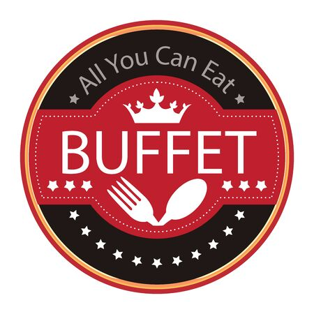 buffet: Black Vintage All You Can Eat Buffet Icon Badge Sticker or Label Isolated on White Background